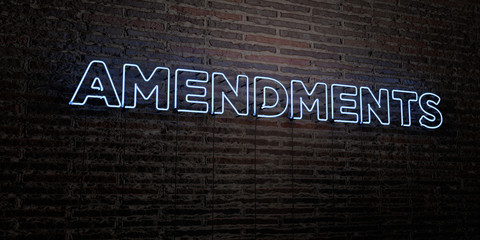 AMENDMENTS -Realistic Neon Sign on Brick Wall background - 3D rendered royalty free stock image. Can be used for online banner ads and direct mailers..