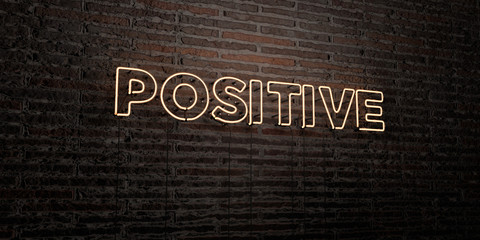 POSITIVE -Realistic Neon Sign on Brick Wall background - 3D rendered royalty free stock image. Can be used for online banner ads and direct mailers..