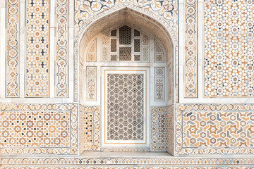 Detail of Decoration on the wall of Itmad-Ud-Daulah's tomb, called as the Jewel Box or the Baby Taj, located in Agra, Uttar Pradesh, India. Wall mural