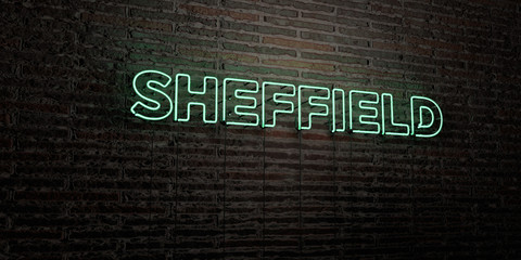 SHEFFIELD -Realistic Neon Sign on Brick Wall background - 3D rendered royalty free stock image. Can be used for online banner ads and direct mailers..