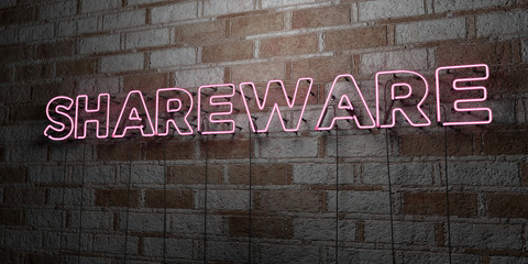 SHAREWARE - Glowing Neon Sign on stonework wall - 3D rendered royalty free stock illustration.  Can be used for online banner ads and direct mailers..