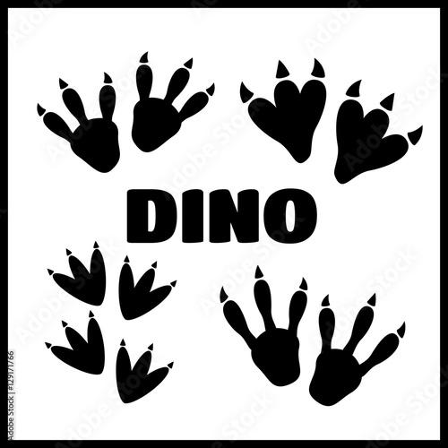 Dinosaur footprint tracks vector set