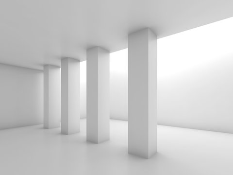 Abstract white empty room with columns