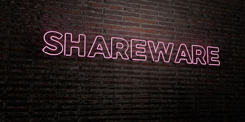 SHAREWARE -Realistic Neon Sign on Brick Wall background - 3D rendered royalty free stock image. Can be used for online banner ads and direct mailers..