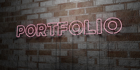 PORTFOLIO - Glowing Neon Sign on stonework wall - 3D rendered royalty free stock illustration.  Can be used for online banner ads and direct mailers.. Wall mural