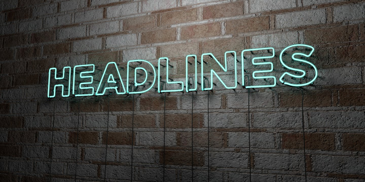 HEADLINES - Glowing Neon Sign on stonework wall - 3D rendered royalty free stock illustration.  Can be used for online banner ads and direct mailers..