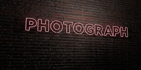 PHOTOGRAPH -Realistic Neon Sign on Brick Wall background - 3D rendered royalty free stock image. Can be used for online banner ads and direct mailers..