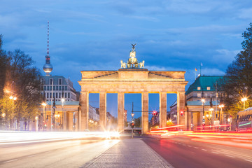 Berlin Brandenburg gate at night, long exposure