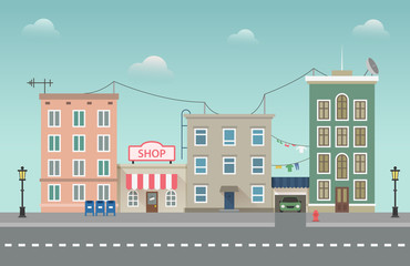 Day city urban landscape. Small town vector illustration in flat style.