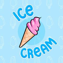 Cute colorful ice cream cone vector illustration in hand drawn graphic cartoon