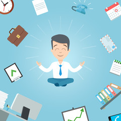 Happy businessman meditating in the office. Business yoga office meditation