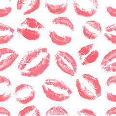 Lips print pattern on white background