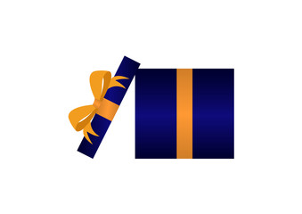Dark Blue Present with Gold Ribbon on White Background