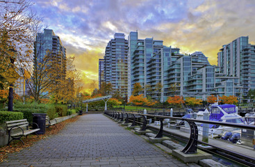 Paved pathway along Coal Harbour in Vancouver, Canada.