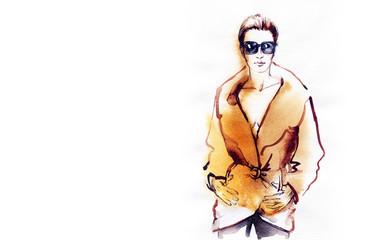 autumn style. fashion illustration . woman in coat. autumn street look. watercolor painting.