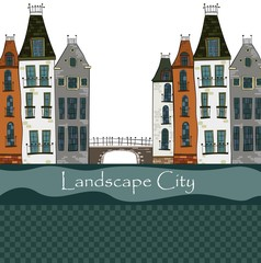 Colorful illustration of city landscape.