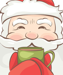 Banner -- Santa warms / Vector christmas illustration, Santa drinking a hot drink