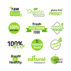 Simple and clean vector logo of green eco food, fresh vegetarian products