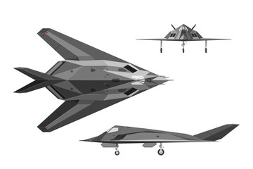 Military aircraft F-117. War plane in three views: side, top, fr