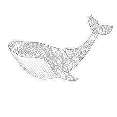 Whale vector illustration. Anti-stress coloring for adult. Black and white lines. Lace pattern