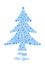 Christmas tree drawn by snowflakes