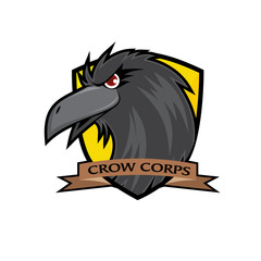Crow Head Vector Badge - Yellow