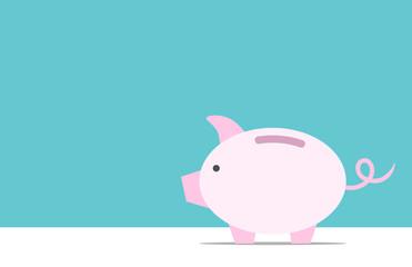 Piggy bank, copy space