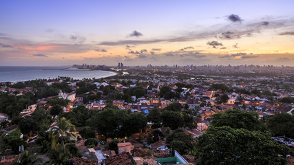 Skyline of Recife and Olinda in PE, Brazil.