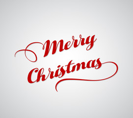 Merry Christmas greeting card, Merry Christmas red letters