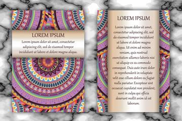 Invitation card design template. Vintage decorative elements with mandala, delicate floral pattern.