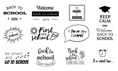 Vector school stickers, logos with calligraphy elements