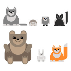 Animals of the forest in the style of the material design. Bear, wolf, fox, hare, hedgehog, owl, skunk. Vector