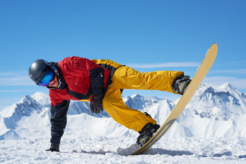 Snowboarder doing trick