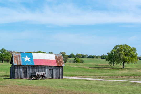 Texas Lonestar barn and rural landscape