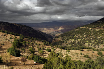 Mountain landscape in the Atlas mountains, Morocco, Africa