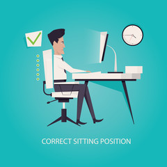 Modern vector illustration of Correct back sitting position. Working in right way