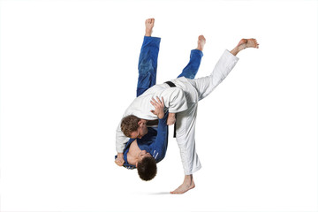 Two judokas fighters fighting men on white