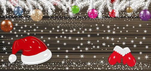 Background with Christmas balls, Santa hat and mittens. Vector i