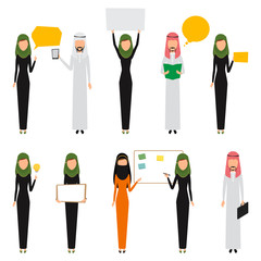 Arab business people infographic with job. Vector character man and woman.