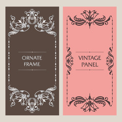 Ornate vintage cards. Template frame for greeting card, invitation, certificate, leaflet, poster. Vector border with place for text.z