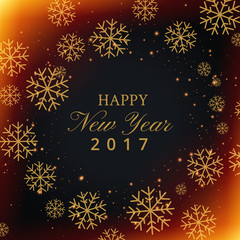 beautiful snowflakes background with happy new year text