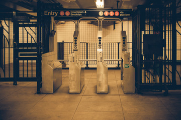Vintage tone New York City subway turnstile