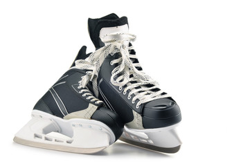 Pair of ice hockey skates isolated on white