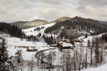 Winter landscape from countryside of Bukovina, Romania