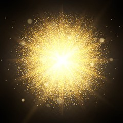 Effect of particles flying on top of the gold luster dust sparks luxury design rich background. The effect of sunlight illumination. Luxury golden texture