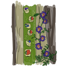 Spring Rolls With Flowers and  Leaf-Wrapped.Vector Illustration