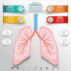 Abstract human lung from dots and lines. Set of colorful infogra