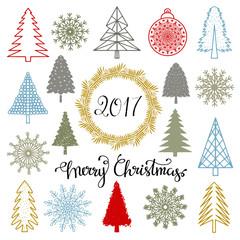 Christmas trees, snowflakes, ball, wreath