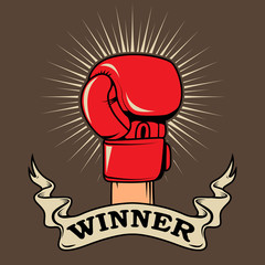 Winner. Human hand in boxing glove. Design element for poster, t