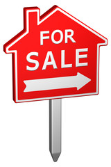 Home for sale sign. 3D rendering.